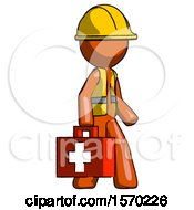 Orange Construction Worker Contractor Man Walking With Medical Aid Briefcase To Right