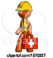 Orange Construction Worker Contractor Man Walking With Medical Aid Briefcase To Left