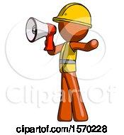 Orange Construction Worker Contractor Man Shouting Into Megaphone Bullhorn Facing Left
