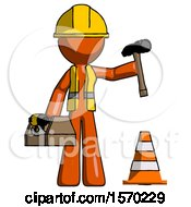 Orange Construction Worker Contractor Man Under Construction Concept Traffic Cone And Tools