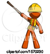 Orange Construction Worker Contractor Man Bo Staff Pointing Up Pose