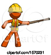 Orange Construction Worker Contractor Man Bo Staff Pointing Right Kung Fu Pose