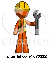 Orange Construction Worker Contractor Man Holding Wrench Ready To Repair Or Work