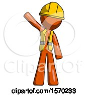 Orange Construction Worker Contractor Man Waving Emphatically With Right Arm