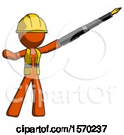 Orange Construction Worker Contractor Man Pen Is Mightier Than The Sword Calligraphy Pose
