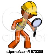 Orange Construction Worker Contractor Man Inspecting With Large Magnifying Glass Right