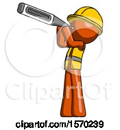 Orange Construction Worker Contractor Man Thermometer In Mouth