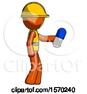 Orange Construction Worker Contractor Man Holding Blue Pill Walking To Right