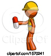 Orange Construction Worker Contractor Man Holding Red Pill Walking To Left