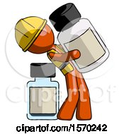 Orange Construction Worker Contractor Man Holding Large White Medicine Bottle With Bottle In Background