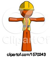 Orange Construction Worker Contractor Man T Pose Arms Up Standing