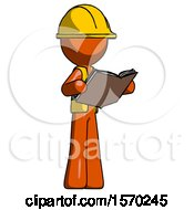 Orange Construction Worker Contractor Man Reading Book While Standing Up Facing Away