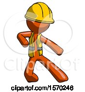Orange Construction Worker Contractor Man Karate Defense Pose Right