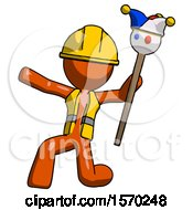 Orange Construction Worker Contractor Man Holding Jester Staff Posing Charismatically