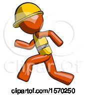 Orange Construction Worker Contractor Man Running Fast Left