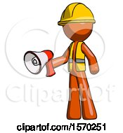 Orange Construction Worker Contractor Man Holding Megaphone Bullhorn Facing Right