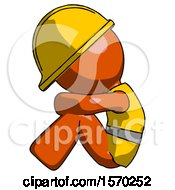 Orange Construction Worker Contractor Man Sitting With Head Down Facing Sideways Left