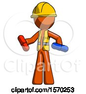 Orange Construction Worker Contractor Man Red Pill Or Blue Pill Concept