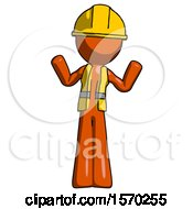Orange Construction Worker Contractor Man Shrugging Confused