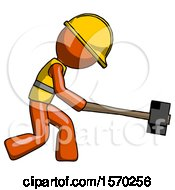 Orange Construction Worker Contractor Man Hitting With Sledgehammer Or Smashing Something