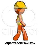 Orange Construction Worker Contractor Man Walking Right Side View