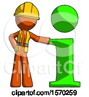 Orange Construction Worker Contractor Man With Info Symbol Leaning Up Against It