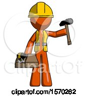 Orange Construction Worker Contractor Man Holding Tools And Toolchest Ready To Work