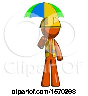 Orange Construction Worker Contractor Man Holding Umbrella Rainbow Colored