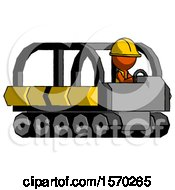 Orange Construction Worker Contractor Man Driving Amphibious Tracked Vehicle Side Angle View