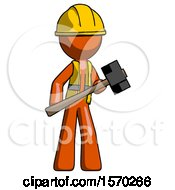 Orange Construction Worker Contractor Man With Sledgehammer Standing Ready To Work Or Defend