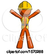 Orange Construction Worker Contractor Man Surprise Pose Arms And Legs Out
