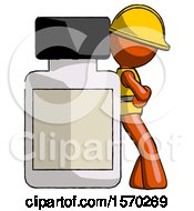 Orange Construction Worker Contractor Man Leaning Against Large Medicine Bottle