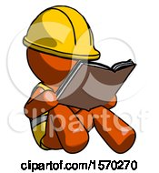 Orange Construction Worker Contractor Man Reading Book While Sitting Down