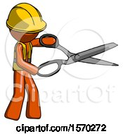 Orange Construction Worker Contractor Man Holding Giant Scissors Cutting Out Something