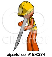 Orange Construction Worker Contractor Man Cutting With Large Scalpel