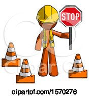 Orange Construction Worker Contractor Man Holding Stop Sign By Traffic Cones Under Construction Concept