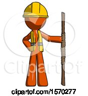 Orange Construction Worker Contractor Man Holding Staff Or Bo Staff