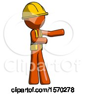 Orange Construction Worker Contractor Man Presenting Something To His Left