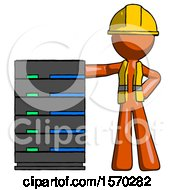 Orange Construction Worker Contractor Man With Server Rack Leaning Confidently Against It