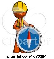 Orange Construction Worker Contractor Man Standing Beside Large Compass