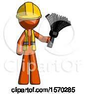 Orange Construction Worker Contractor Man Holding Feather Duster Facing Forward