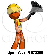 Orange Construction Worker Contractor Man Dusting With Feather Duster Upwards
