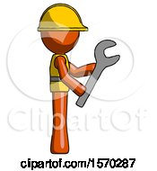 Orange Construction Worker Contractor Man Using Wrench Adjusting Something To Right