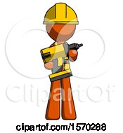 Orange Construction Worker Contractor Man Holding Large Drill