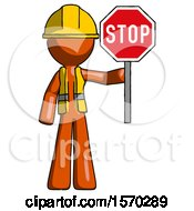 Orange Construction Worker Contractor Man Holding Stop Sign