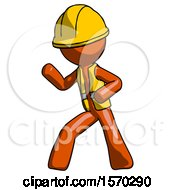 Orange Construction Worker Contractor Man Martial Arts Defense Pose Left