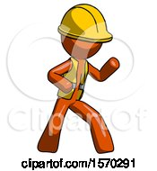 Orange Construction Worker Contractor Man Martial Arts Defense Pose Right