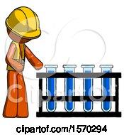 Orange Construction Worker Contractor Man Using Test Tubes Or Vials On Rack