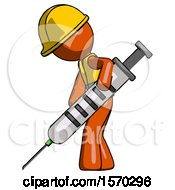 Orange Construction Worker Contractor Man Using Syringe Giving Injection