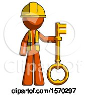 Orange Construction Worker Contractor Man Holding Key Made Of Gold